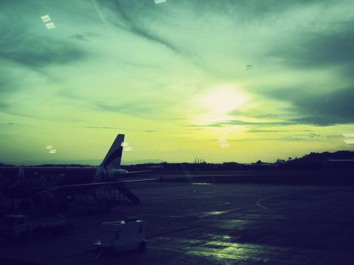 Sun rising over Penang International Airport