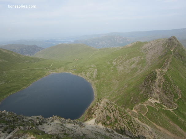 Looking down on Striding Edge